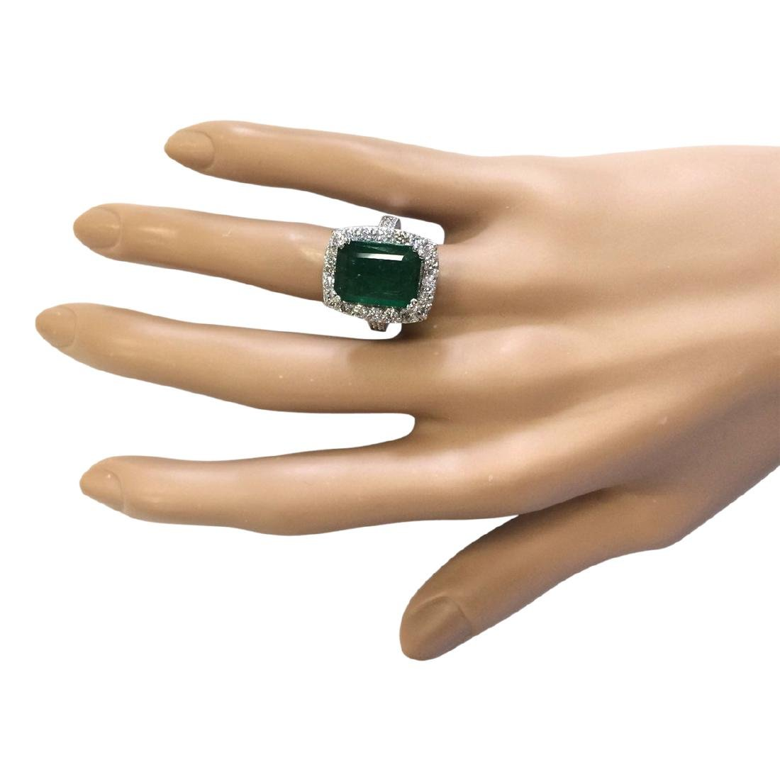6.00 CTW Natural Emerald And Diamond Ring In 18K White - 4