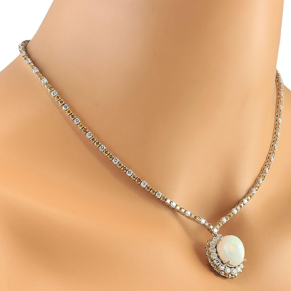 18.12 CTW Natural Opal And Diamond Necklace In 18K - 4