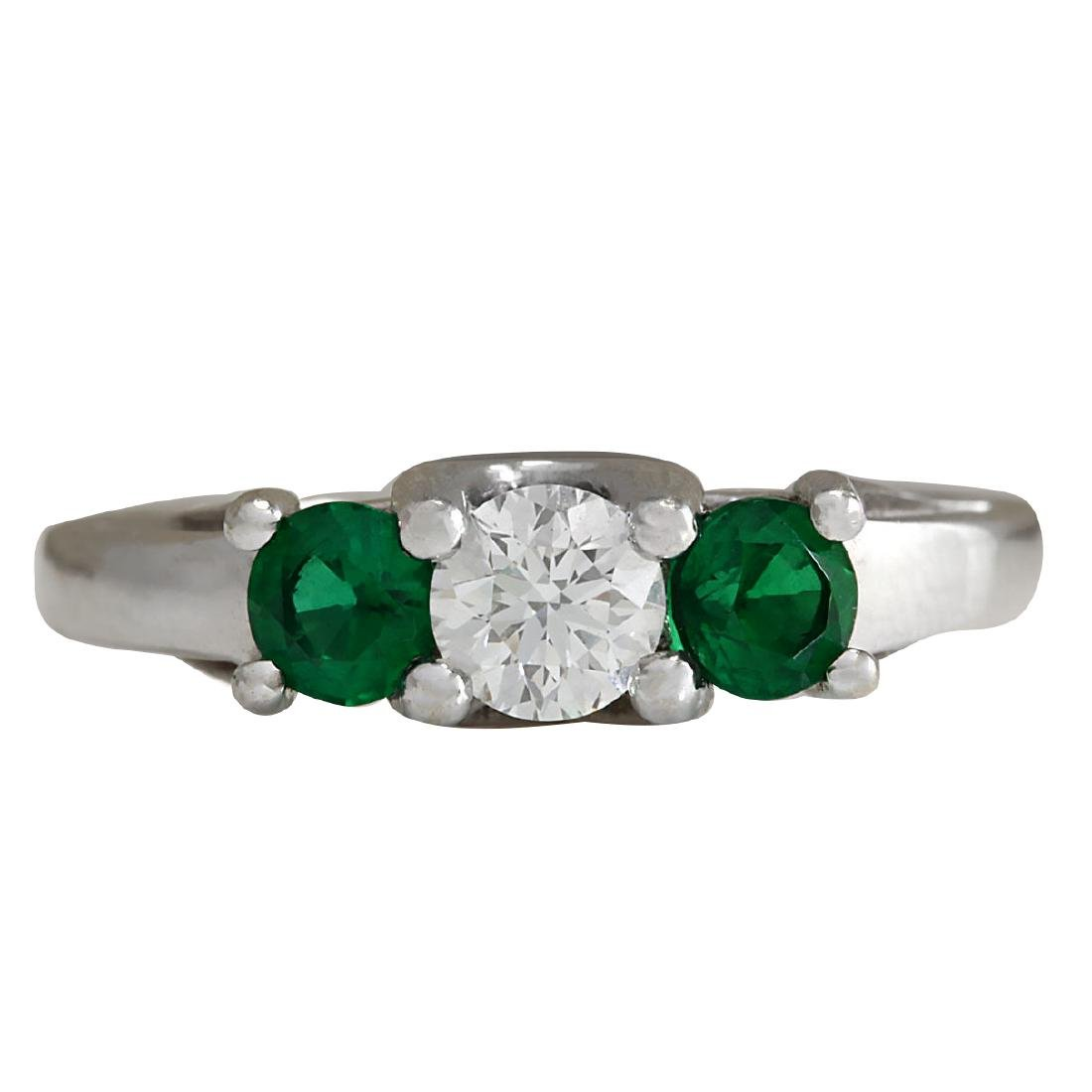 1.00CTW Natural Colombian Emerald And Diamond Ring 18K