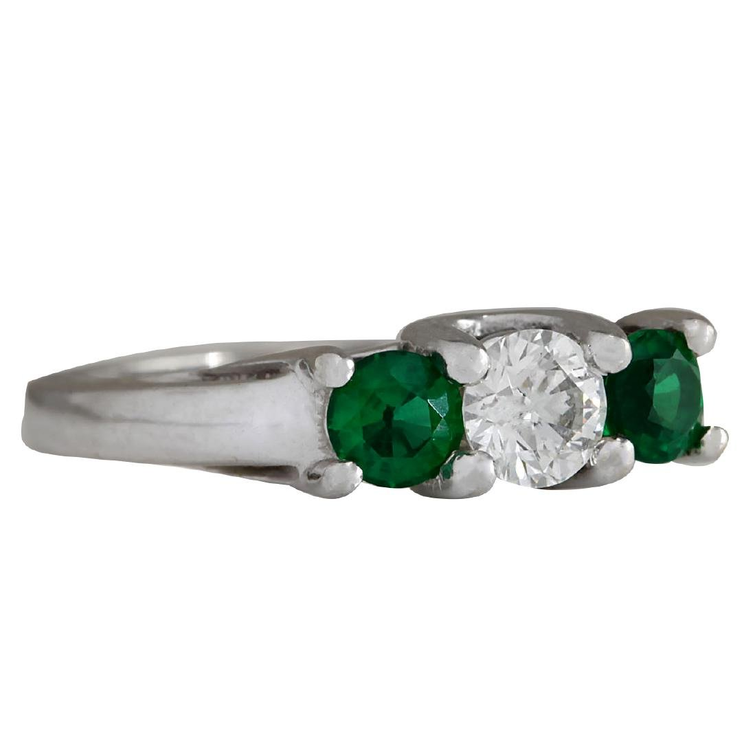 1.00CTW Natural Colombian Emerald And Diamond Ring 18K - 2