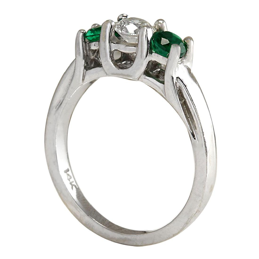 1.00CTW Natural Colombian Emerald And Diamond Ring 18K - 3