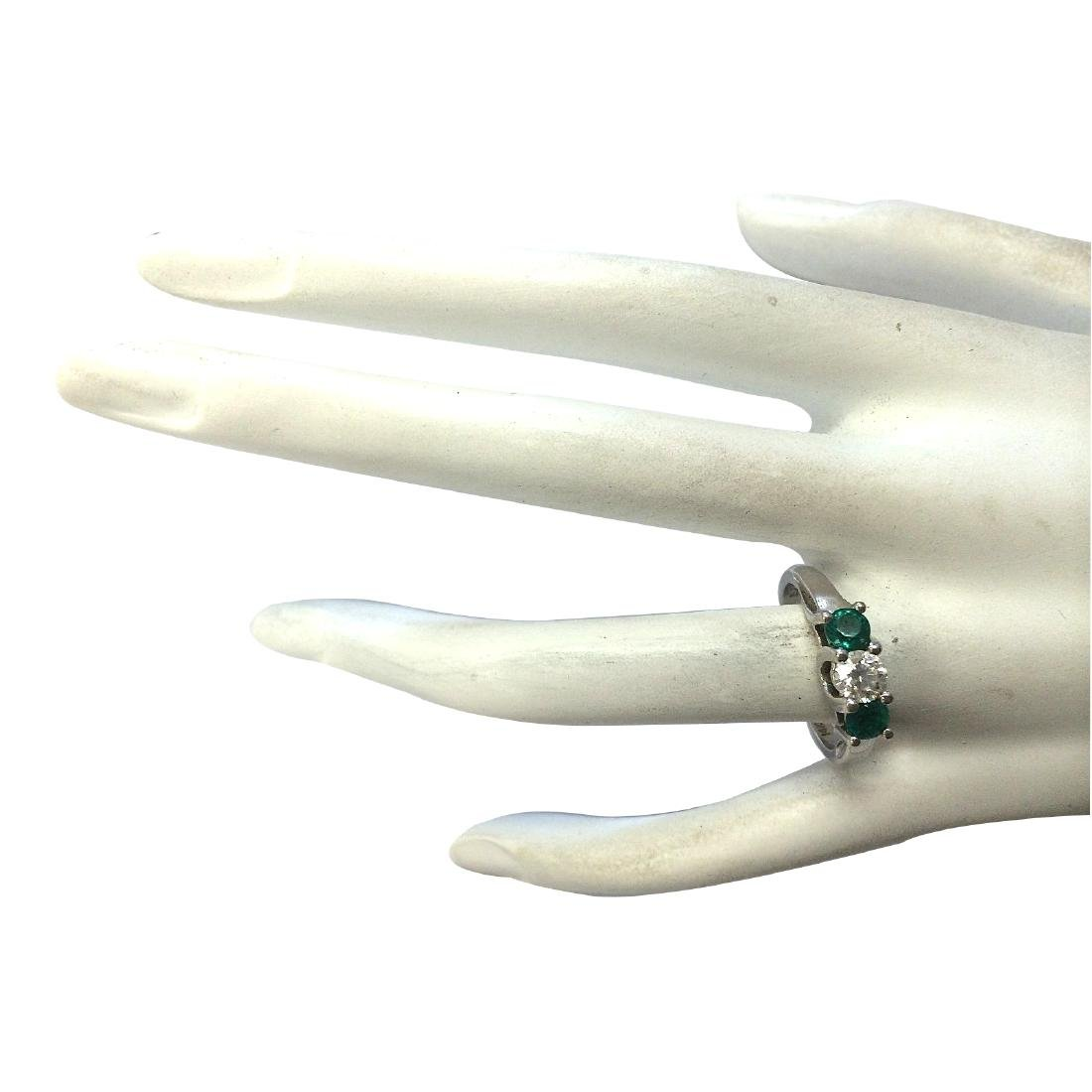 1.00CTW Natural Colombian Emerald And Diamond Ring 18K - 4