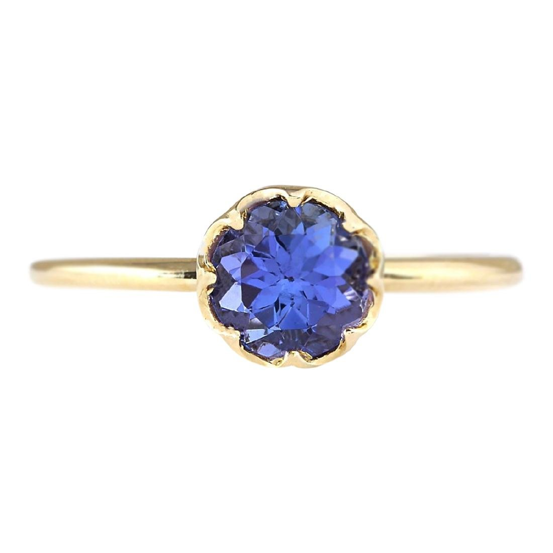 1.35 CTW Natural Tanzanite Ring In 18K Yellow Gold