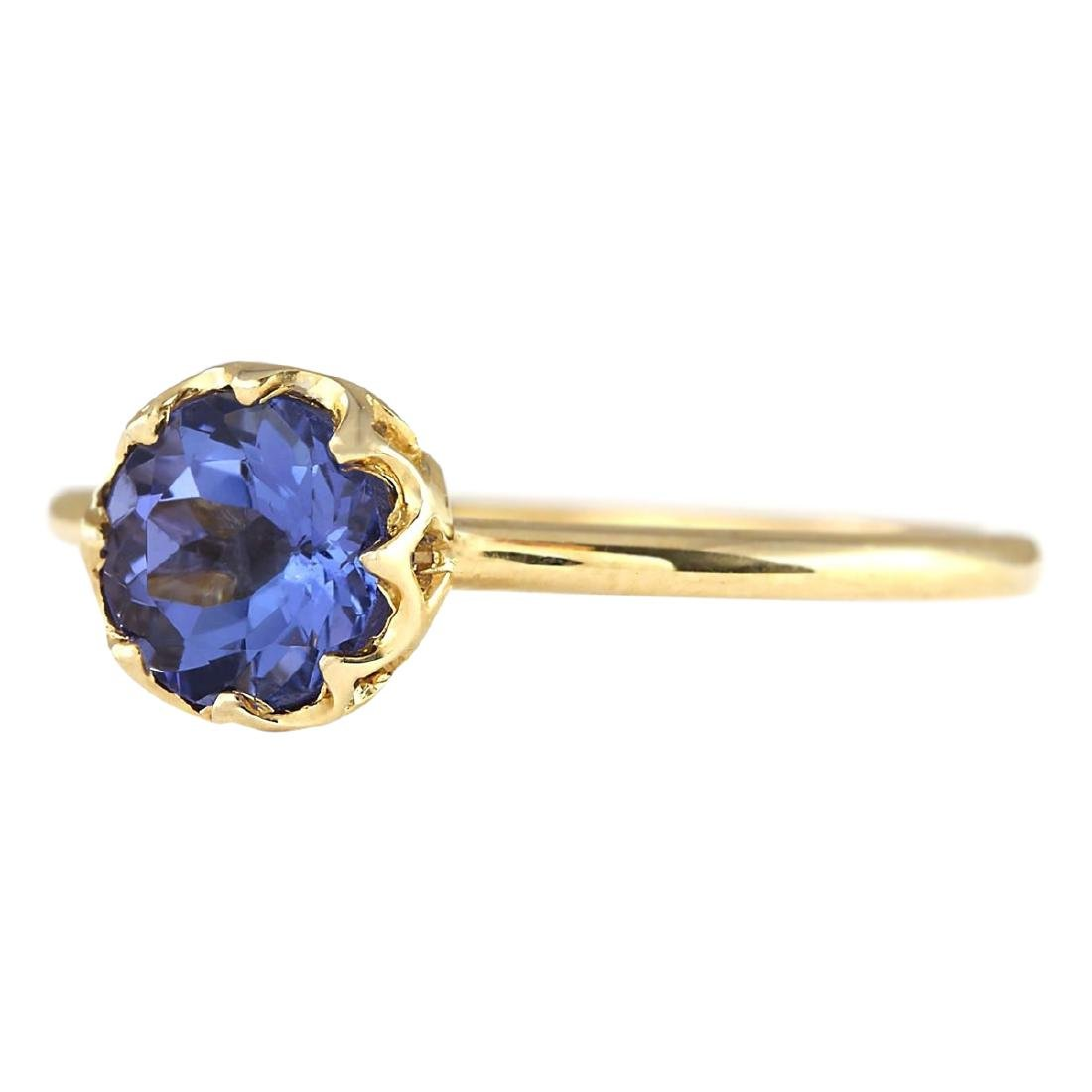 1.35 CTW Natural Tanzanite Ring In 18K Yellow Gold - 2