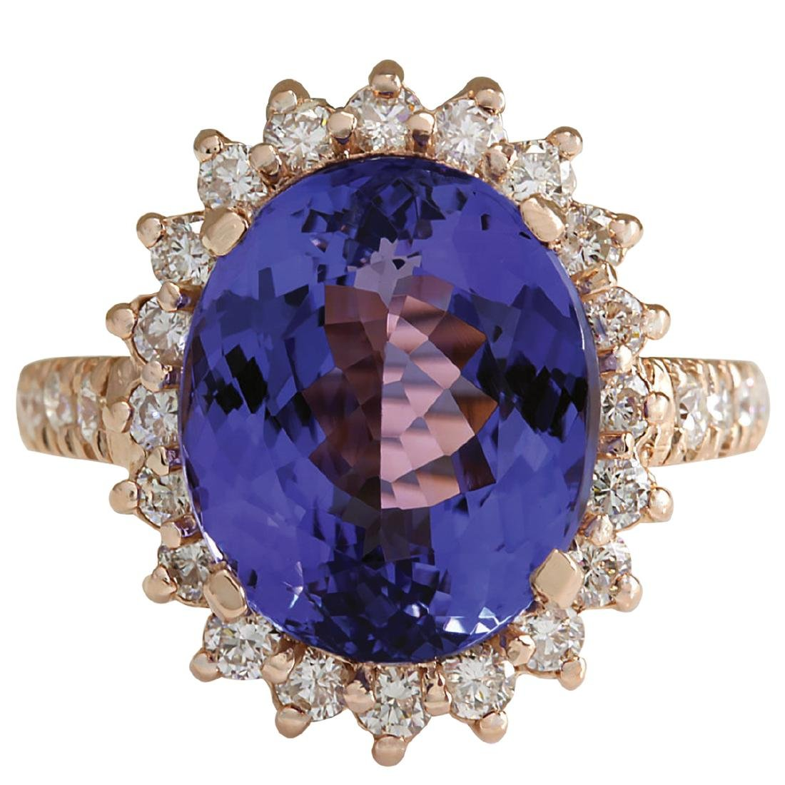 8.65CTW Natural Blue Tanzanite And Diamond Ring 18K