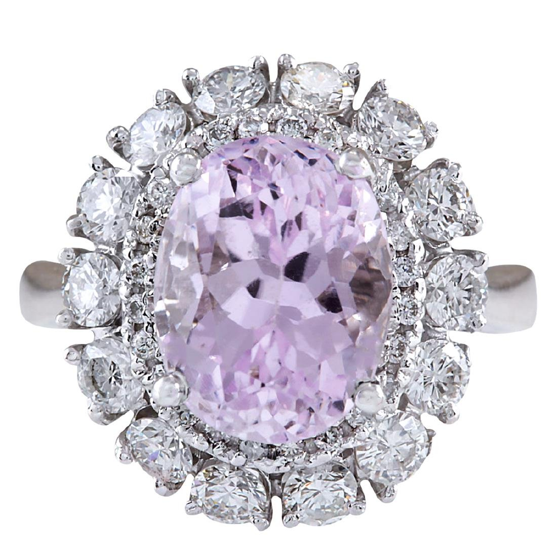 6.20CTW Natural Kunzite And Diamond Ring 18K Solid