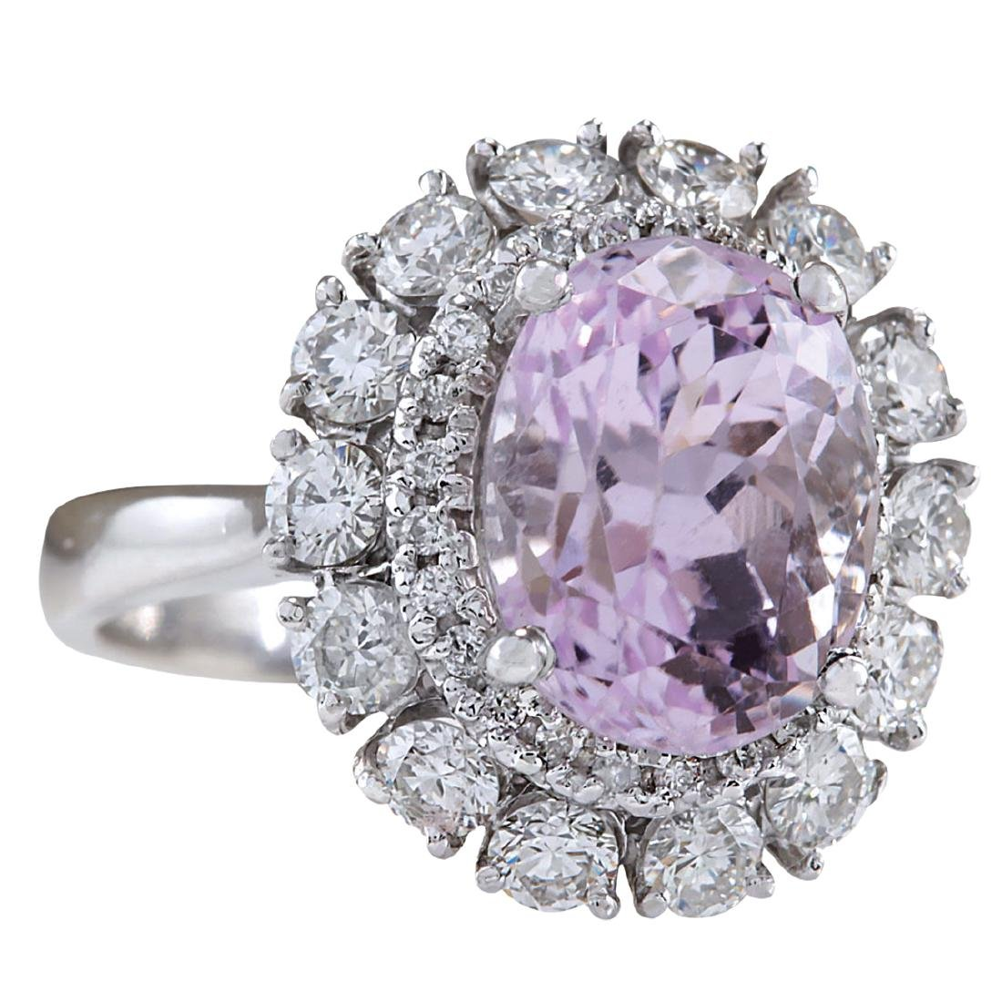 6.20CTW Natural Kunzite And Diamond Ring 18K Solid - 2