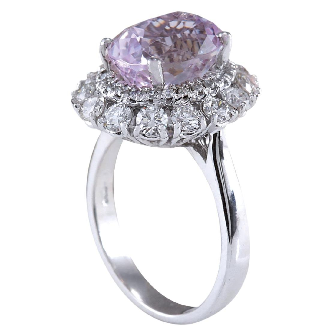 6.20CTW Natural Kunzite And Diamond Ring 18K Solid - 3