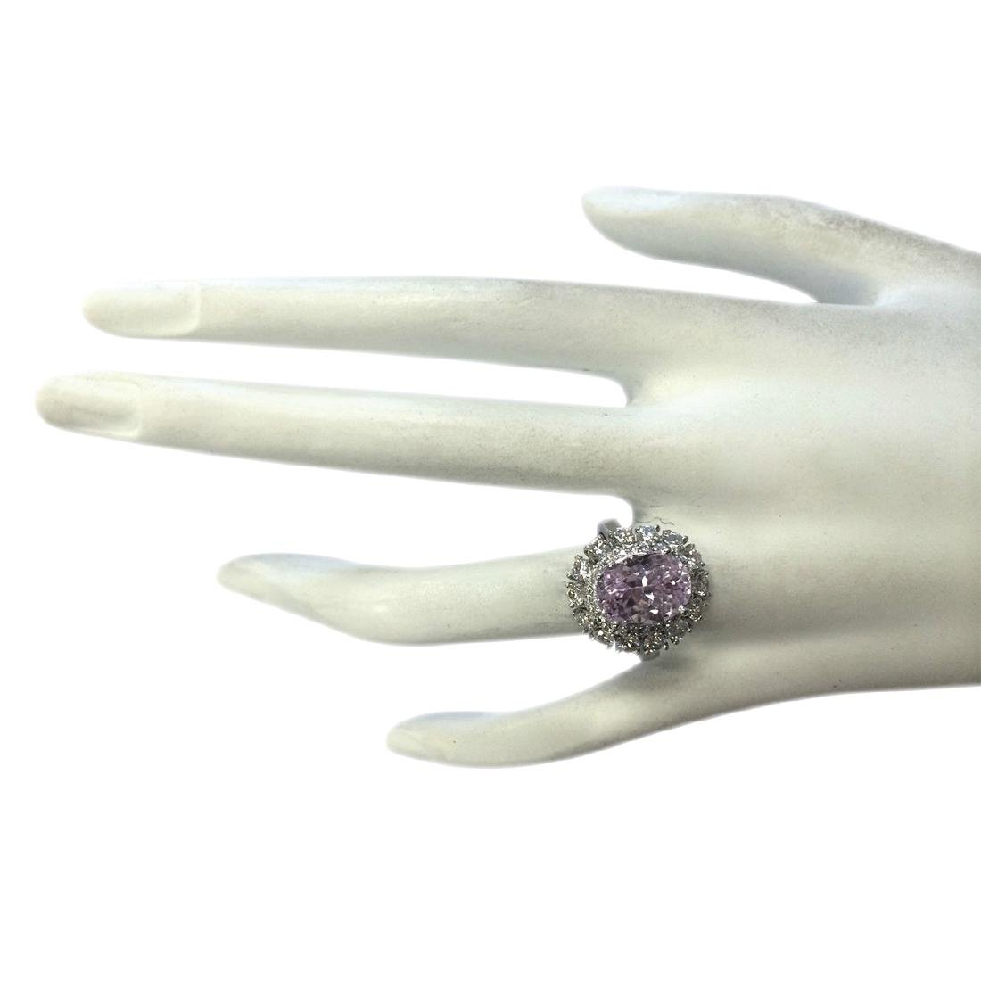 6.20CTW Natural Kunzite And Diamond Ring 18K Solid - 4