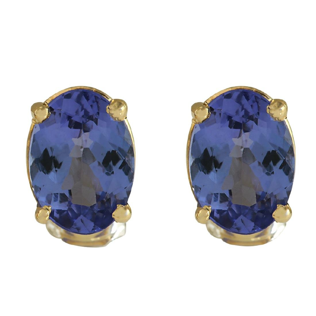 2.00CTW Natural Blue Tanzanite Earrings In 18K Yellow