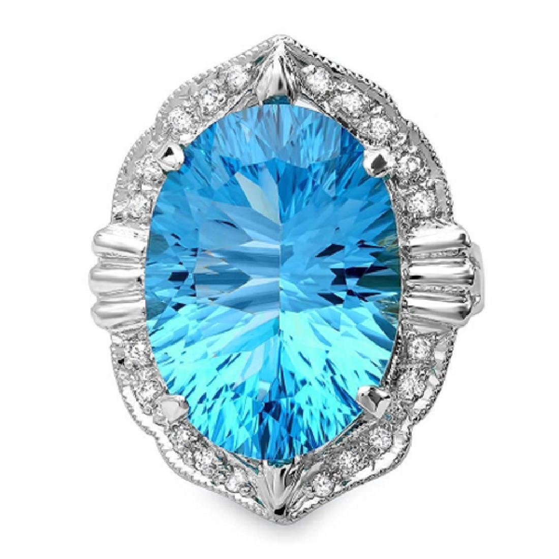 13.60 Carat Natural Topaz 18K Solid White Gold Diamond