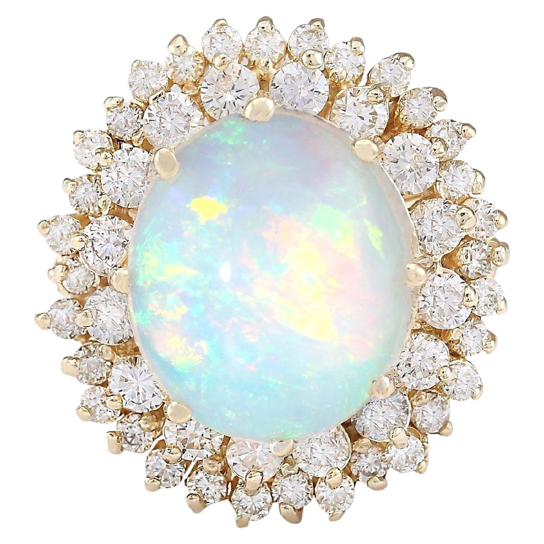 7.20 CTW Natural Opal And Diamond Ring In 18K Yellow