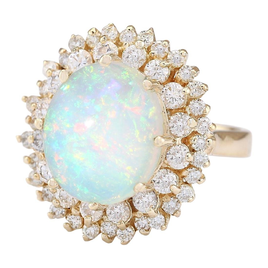7.20 CTW Natural Opal And Diamond Ring In 18K Yellow - 2