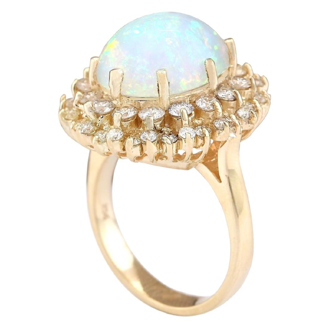 7.20 CTW Natural Opal And Diamond Ring In 18K Yellow - 3