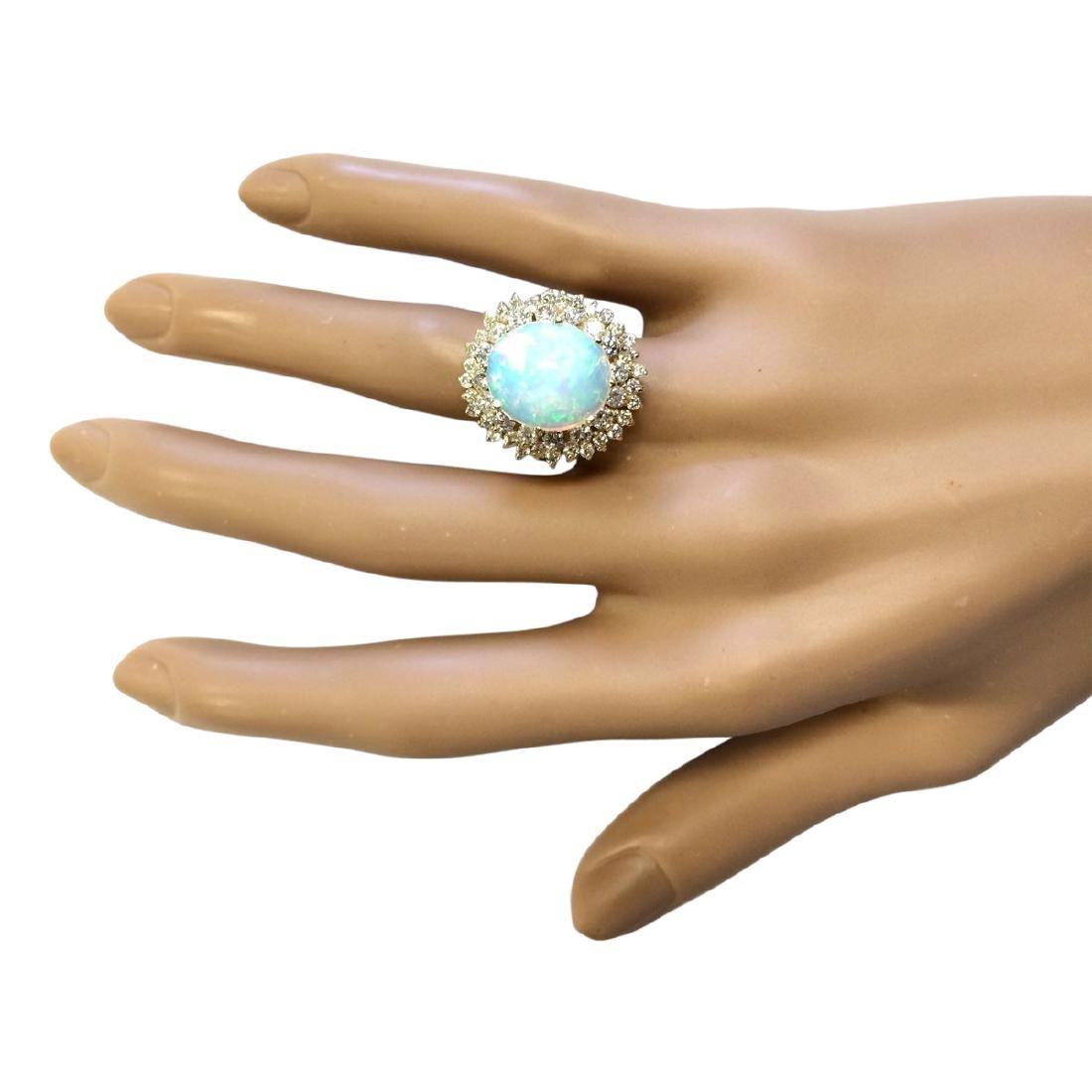 7.20 CTW Natural Opal And Diamond Ring In 18K Yellow - 4