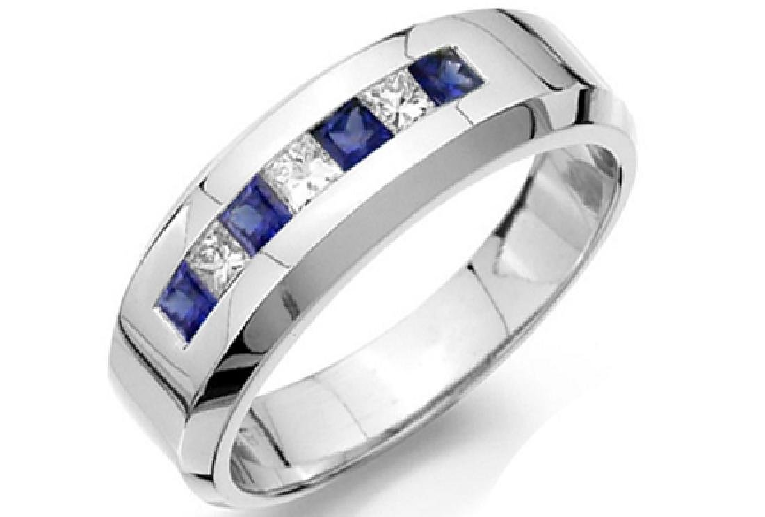 Mens 1.00 Carat Natural Sapphire 18K Solid White Gold