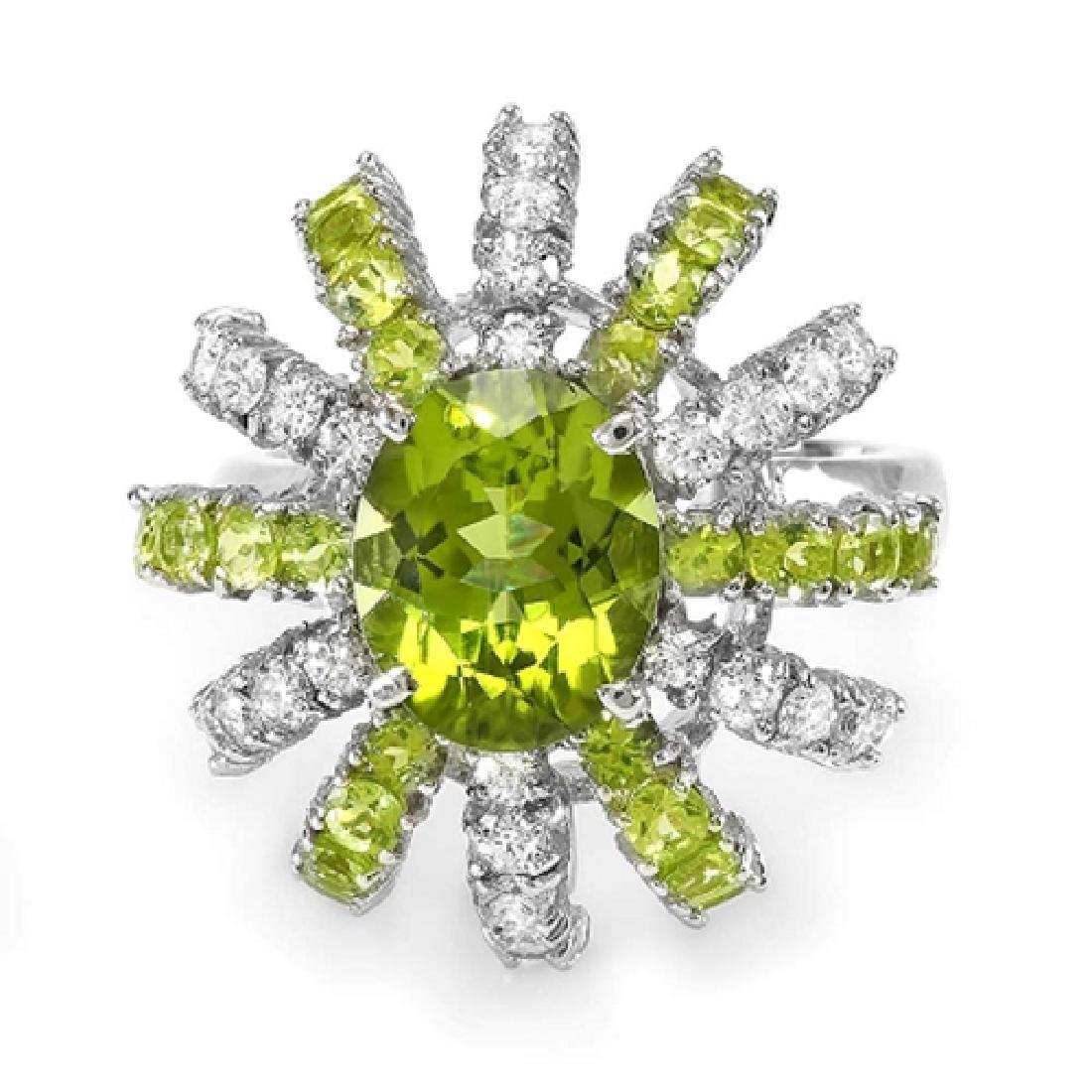 4.80 Carat Natural Peridot 18K Solid White Gold Diamond
