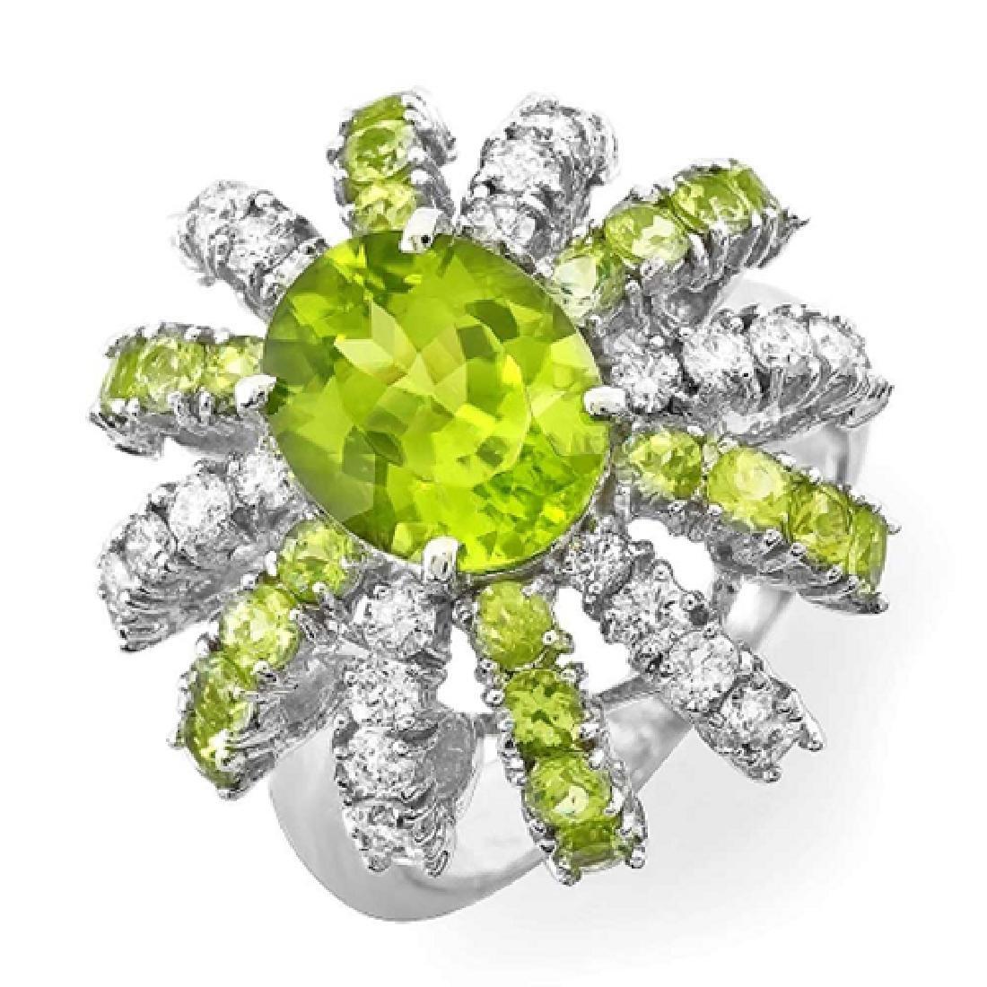 4.80 Carat Natural Peridot 18K Solid White Gold Diamond - 2