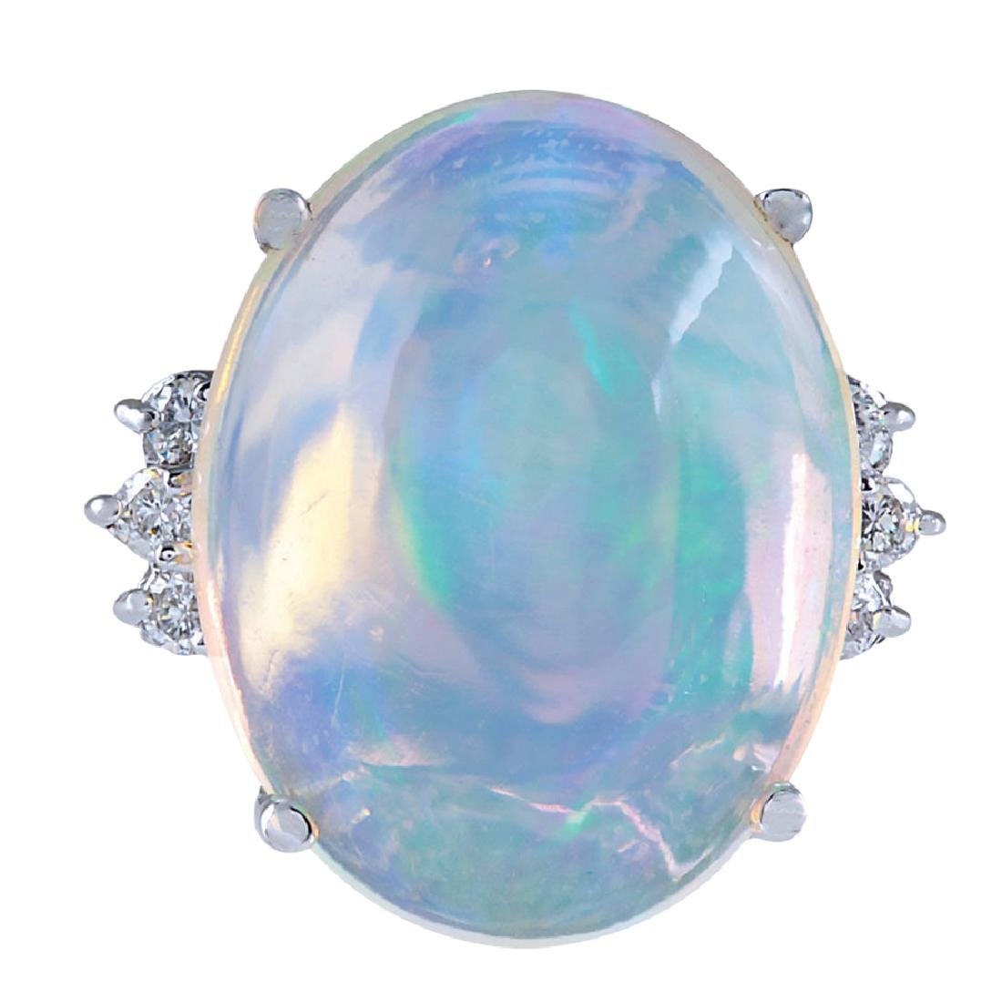 9.82CTW Natural Opal And Diamond Ring 18K Solid White