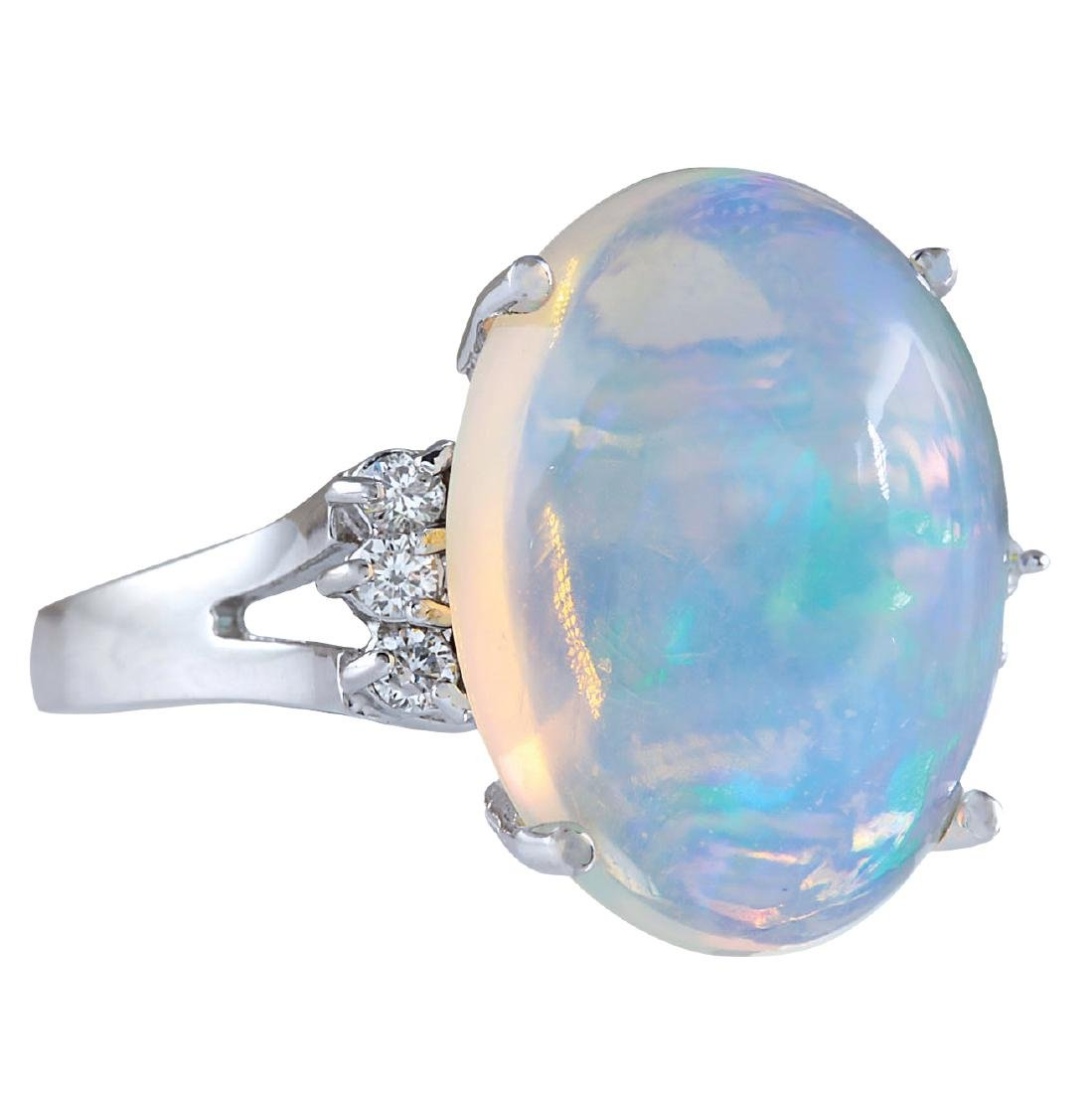 9.82CTW Natural Opal And Diamond Ring 18K Solid White - 2