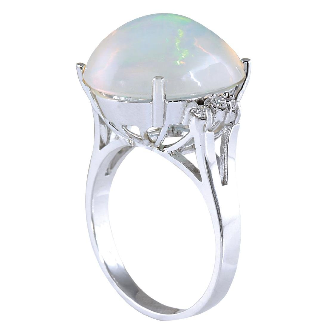 9.82CTW Natural Opal And Diamond Ring 18K Solid White - 3