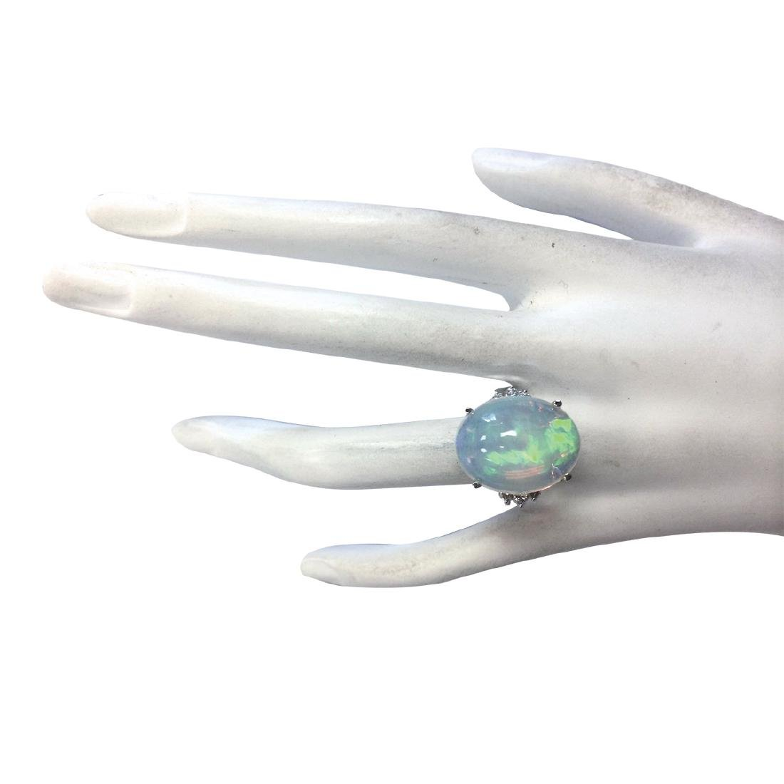 9.82CTW Natural Opal And Diamond Ring 18K Solid White - 4