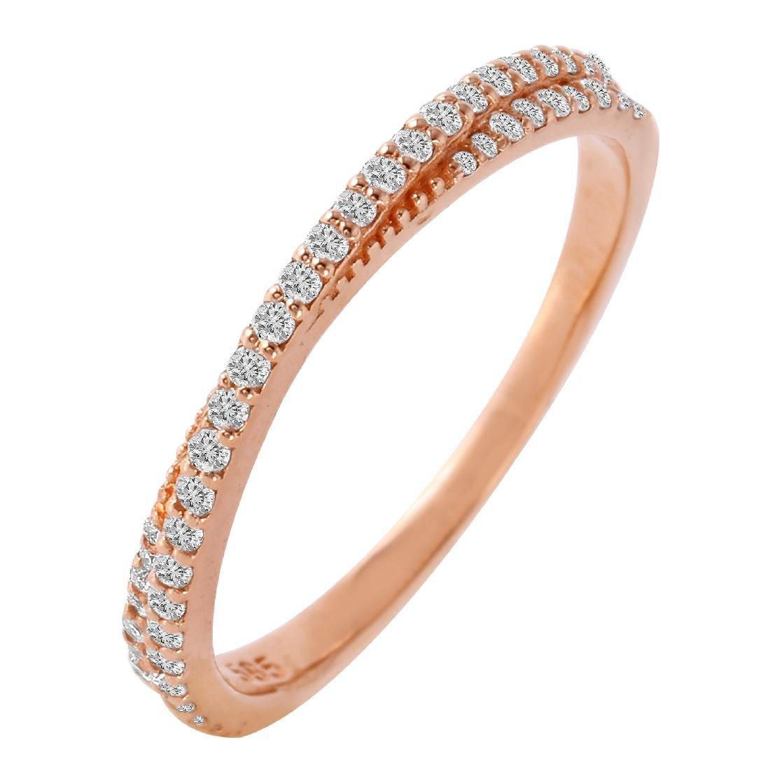 0.25 Carat Natural Diamond 18K Solid Rose Gold Ring