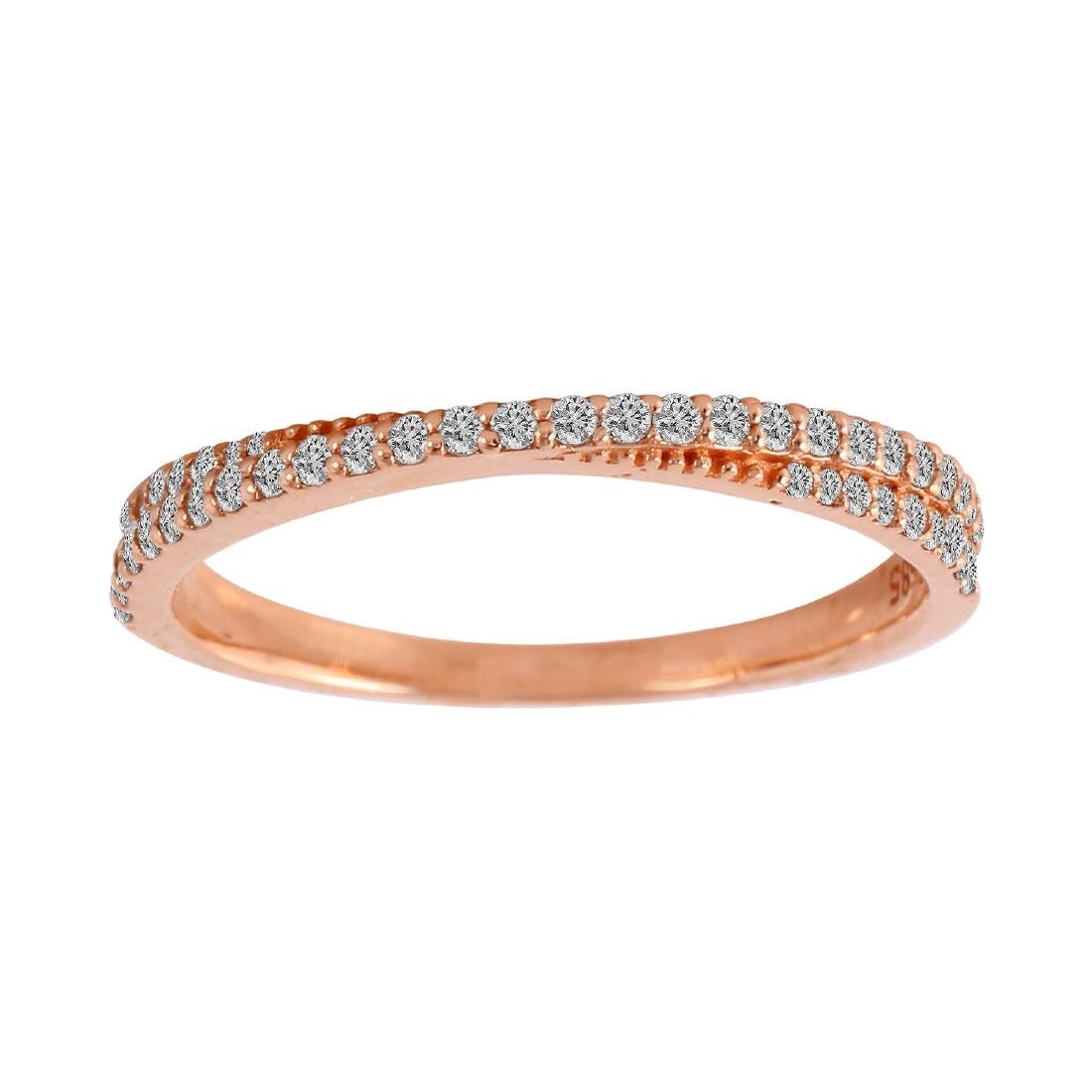 0.25 Carat Natural Diamond 18K Solid Rose Gold Ring - 2