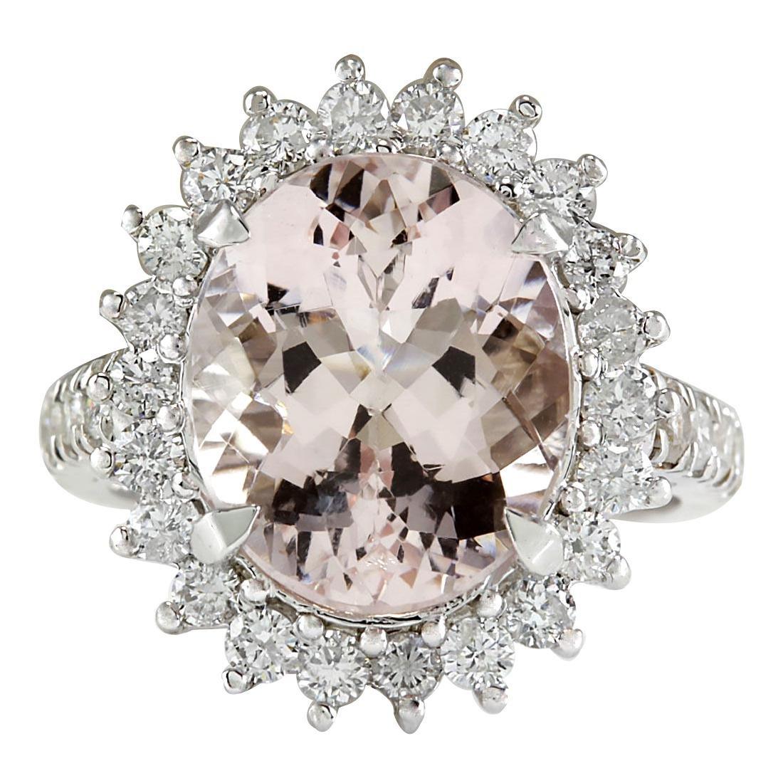 7.34CTW Natural Morganite And Diamond Ring In 18K White