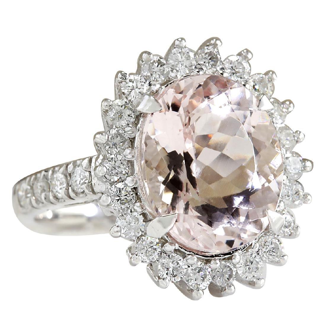 7.34CTW Natural Morganite And Diamond Ring In 18K White - 2