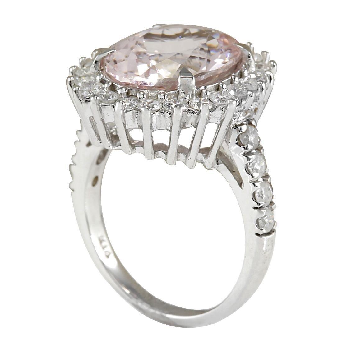 7.34CTW Natural Morganite And Diamond Ring In 18K White - 3
