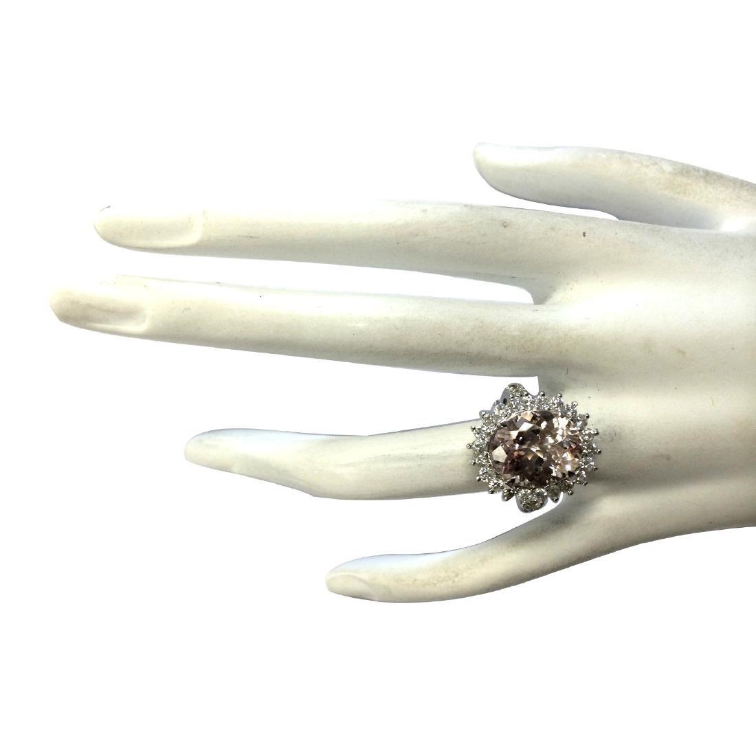 7.34CTW Natural Morganite And Diamond Ring In 18K White - 4