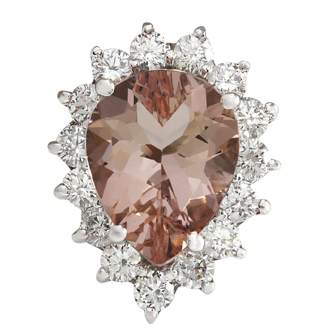 6.16CTW Natural Peach Morganite And Diamond Ring In 18K