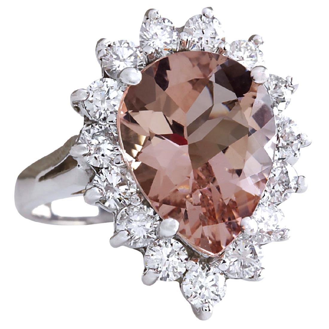 6.16CTW Natural Peach Morganite And Diamond Ring In 18K - 2