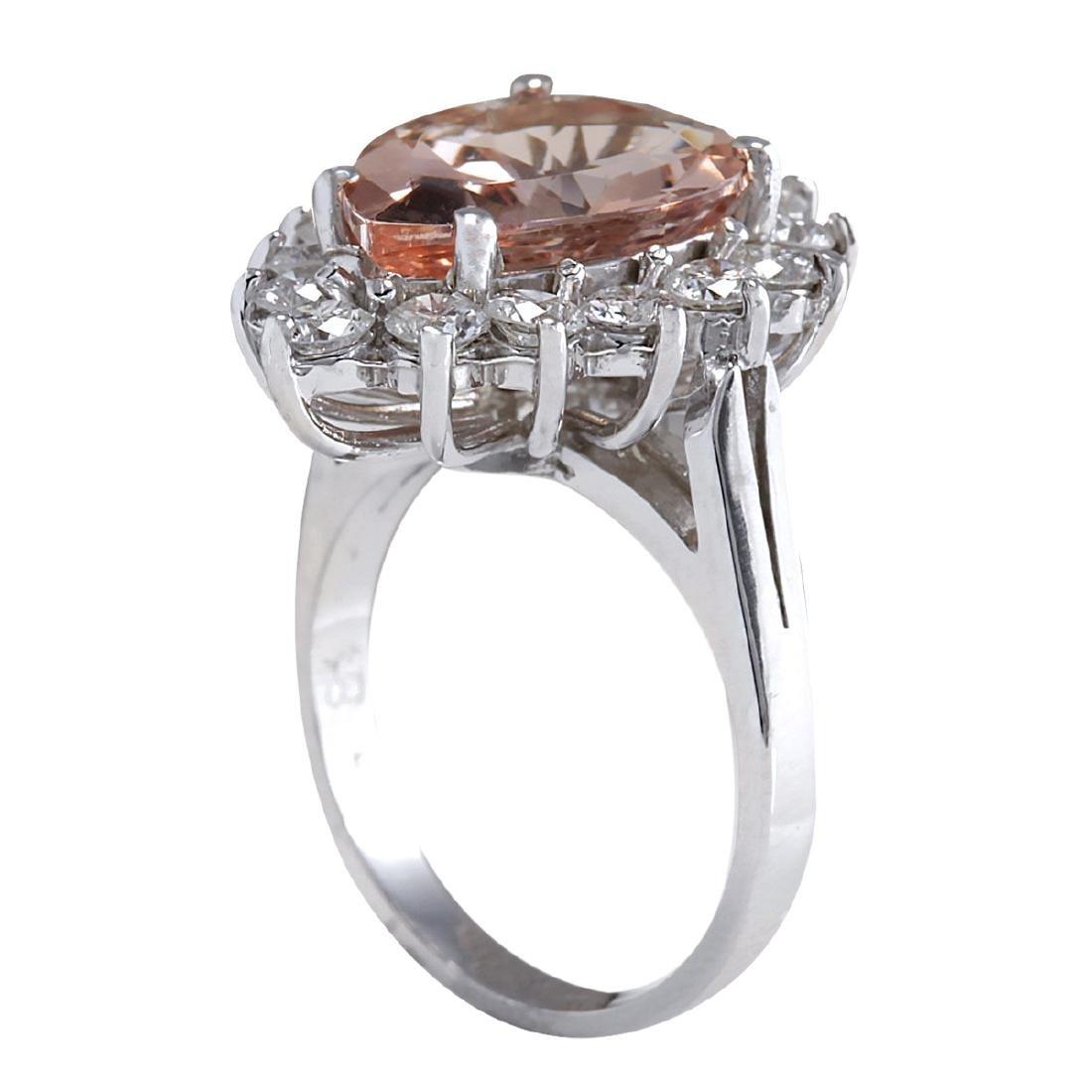 6.16CTW Natural Peach Morganite And Diamond Ring In 18K - 3
