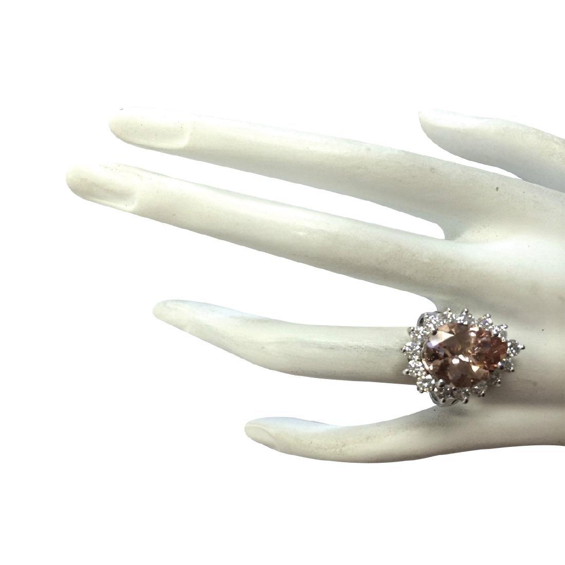 6.16CTW Natural Peach Morganite And Diamond Ring In 18K - 4