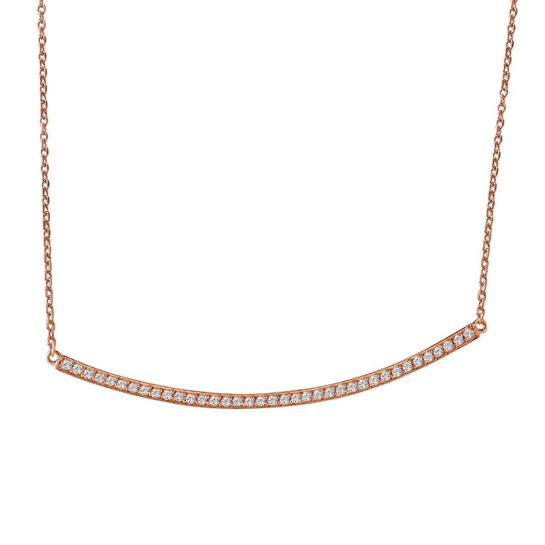 0.24 Carat Natural Diamond 18K Solid Rose Gold Necklace