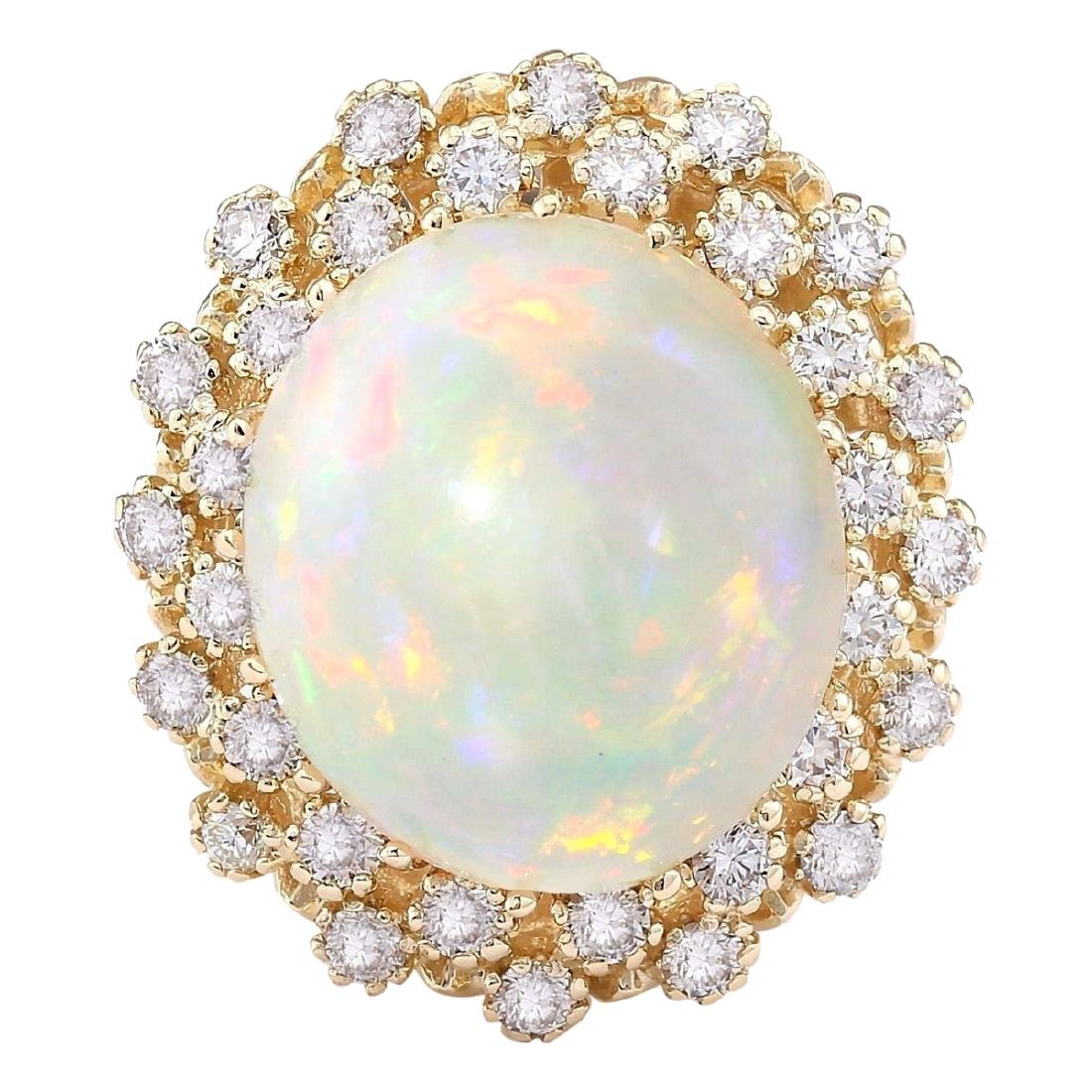 11.29 CTW Natural Opal And Diamond Ring In 18K Yellow