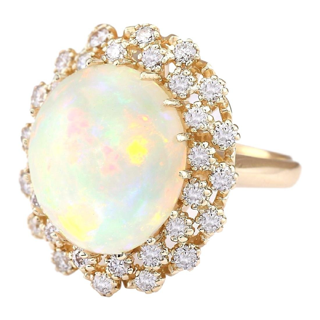 11.29 CTW Natural Opal And Diamond Ring In 18K Yellow - 2