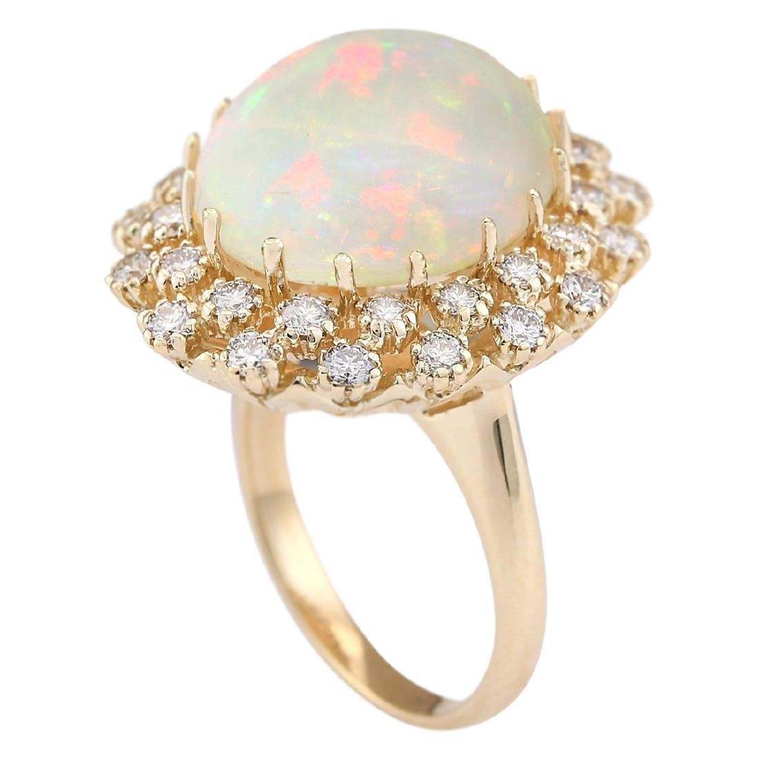 11.29 CTW Natural Opal And Diamond Ring In 18K Yellow - 3