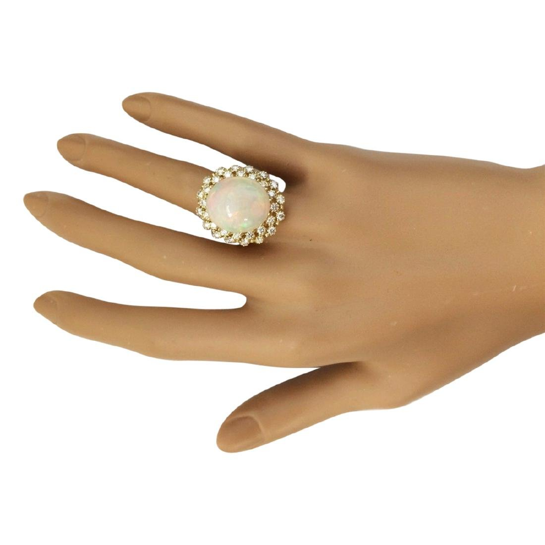 11.29 CTW Natural Opal And Diamond Ring In 18K Yellow - 4