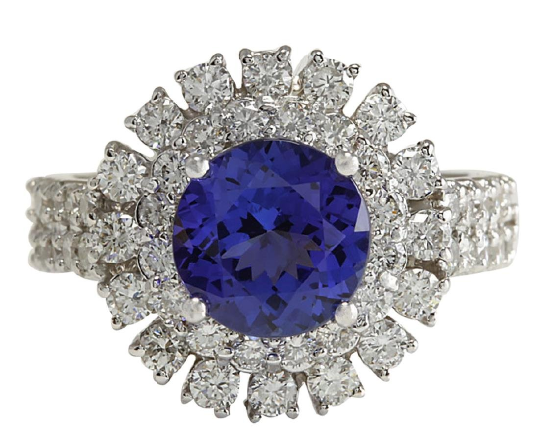 4.03CTW Natural Blue Tanzanite And Diamond Ring In 18K