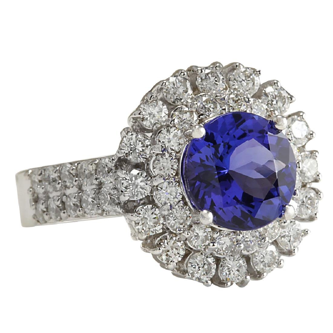 4.03CTW Natural Blue Tanzanite And Diamond Ring In 18K - 2