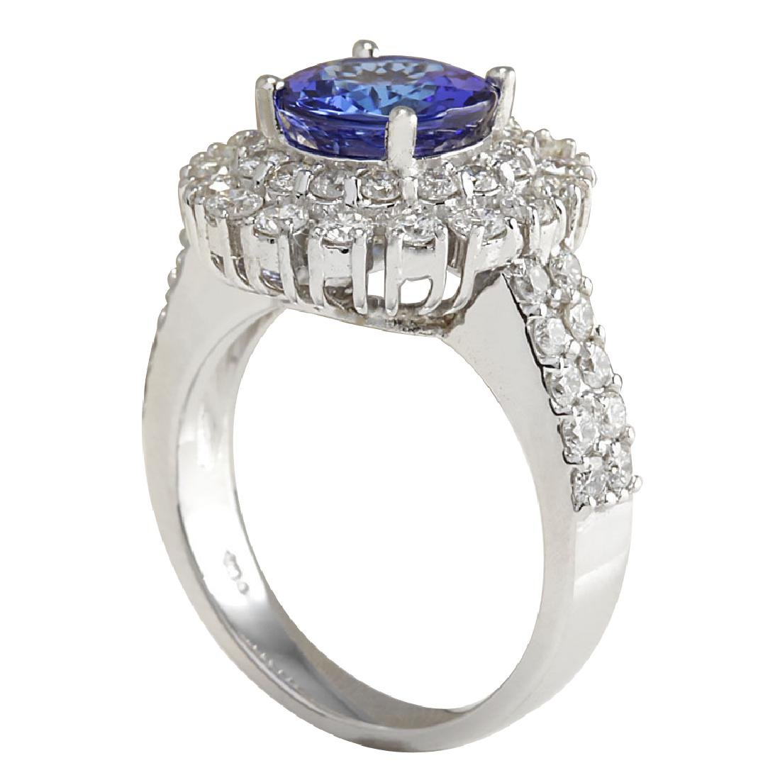4.03CTW Natural Blue Tanzanite And Diamond Ring In 18K - 3