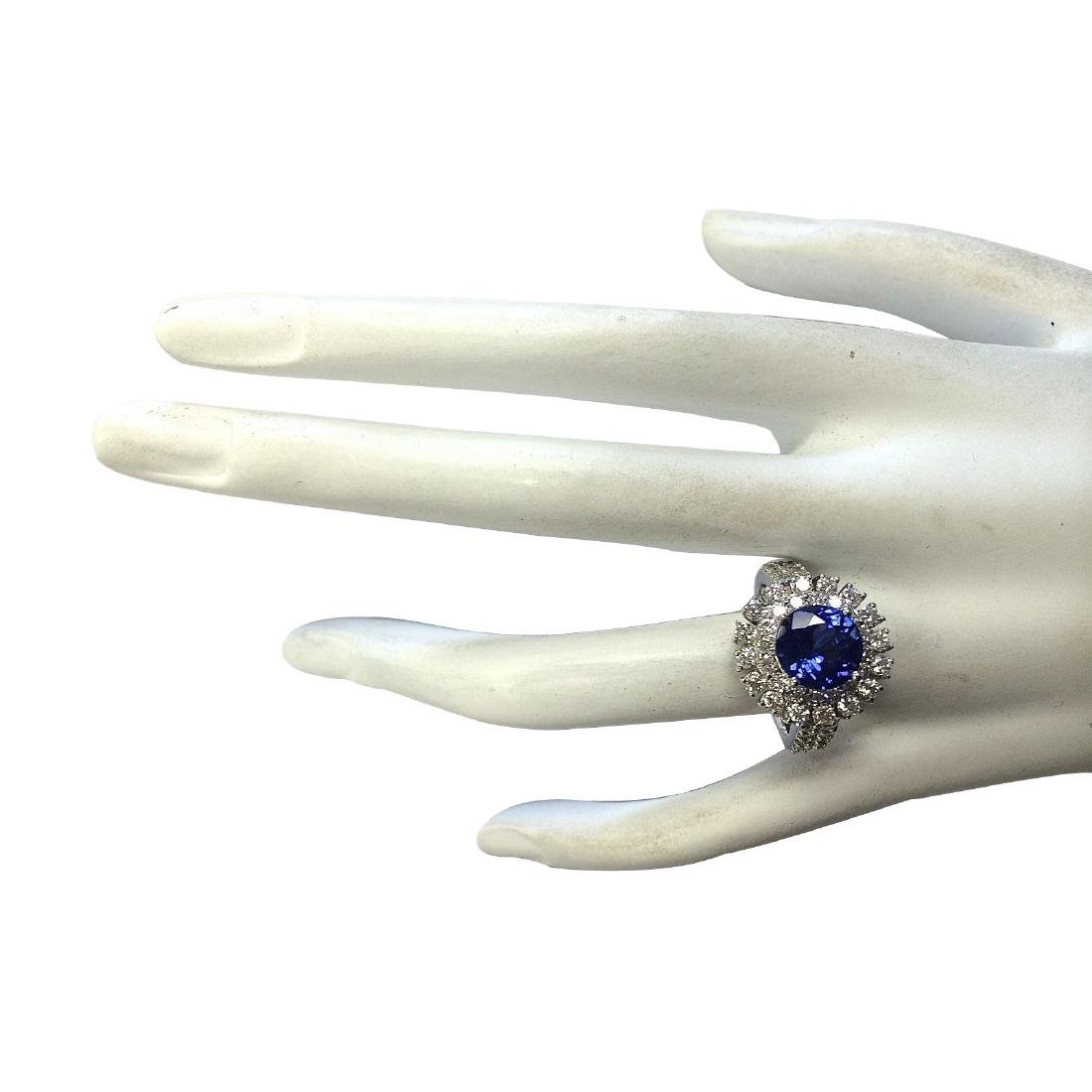 4.03CTW Natural Blue Tanzanite And Diamond Ring In 18K - 4