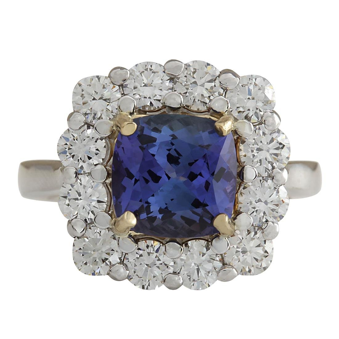 4.66Ct Natural Blue Tanzanite And Diamond Ring In18K