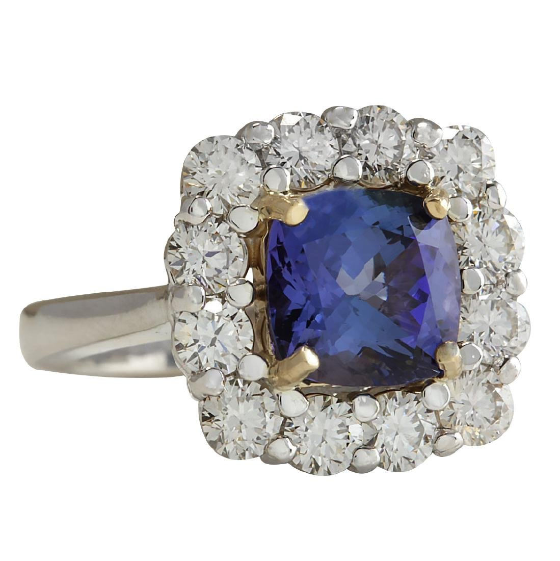 4.66Ct Natural Blue Tanzanite And Diamond Ring In18K - 2