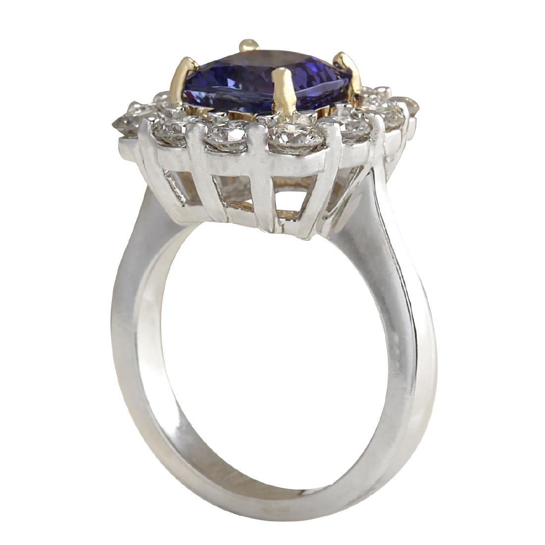 4.66Ct Natural Blue Tanzanite And Diamond Ring In18K - 3