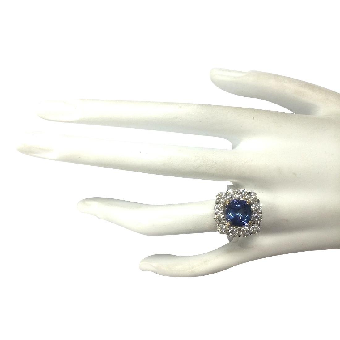 4.66Ct Natural Blue Tanzanite And Diamond Ring In18K - 4