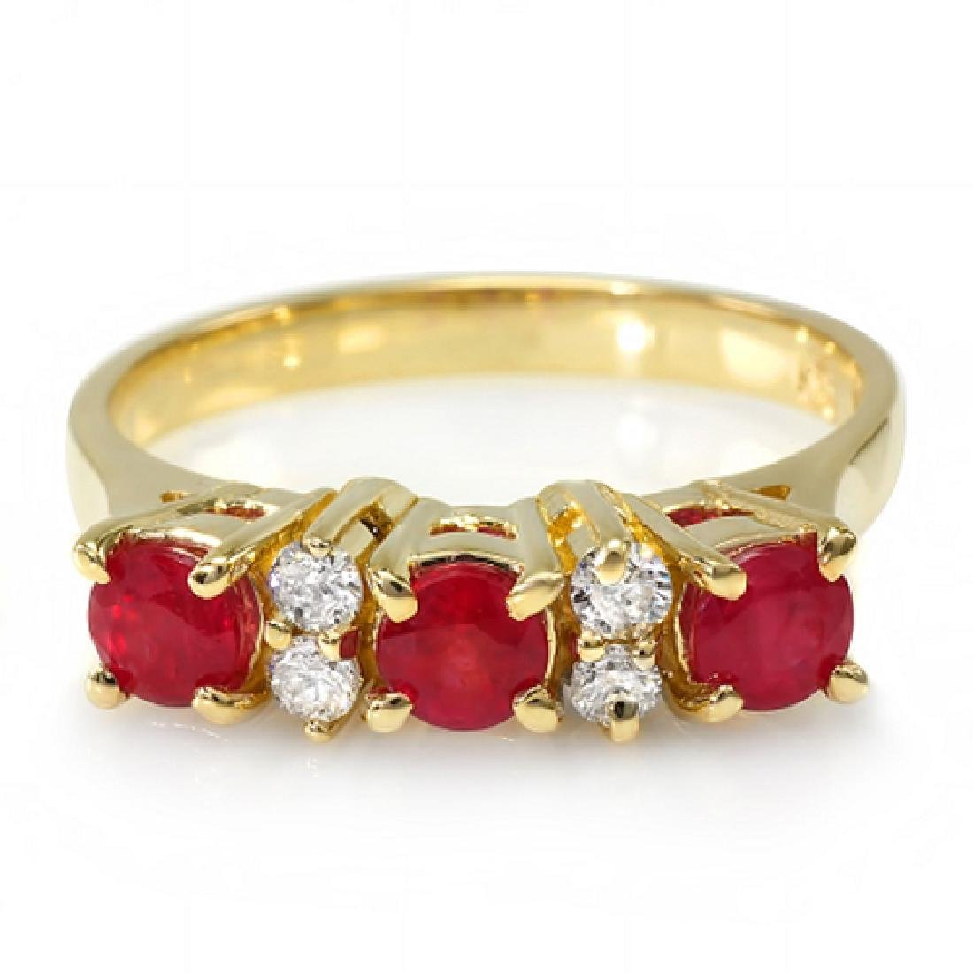 1.38 Carat Natural Ruby 18K Solid Yellow Gold Diamond